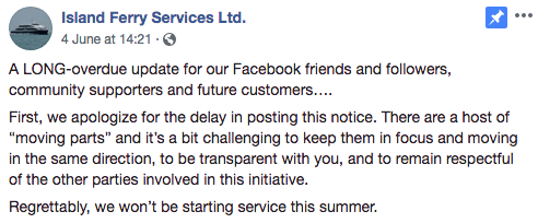 Island Ferries Facebook Post
